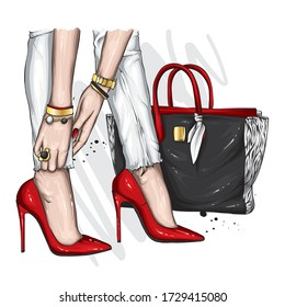 Long slender legs in tight trousers and high-heeled shoes. Fashion, style, clothing and accessories. Vector illustration. Stylish girl with bag.