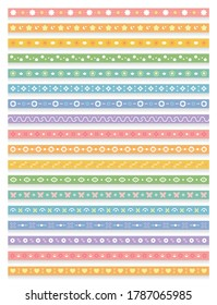 Long strip continuous pattern, colorful seamless background, continuous totem, can be used for invitation cards, birthday cards, weddings, Valentine's Day