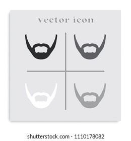 Long stubble beard style. Beard and mustache flat black and white vector icon.