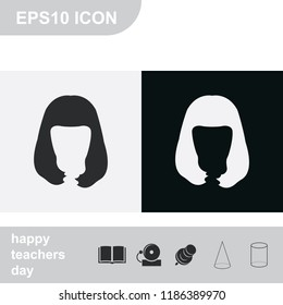 Long style hair silhouette. Woman hairstyle flat black and white vector icon. Peggy Sue hairstyle.