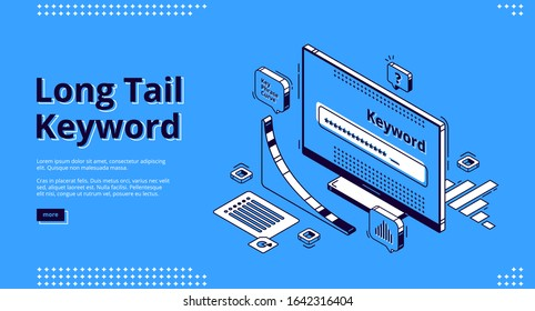 Long tail keyword isometric landing page. Seo research tool curve graph and browser on pc desktop computer monitor. Engine optimization, analysis service 3d vector illustration, web banner, line art
