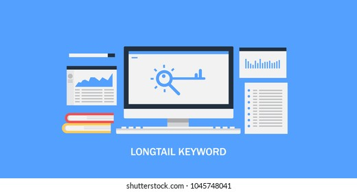 Long tail Keyword - Keyword research - SEO keywords and selection flat vector conceptual banner