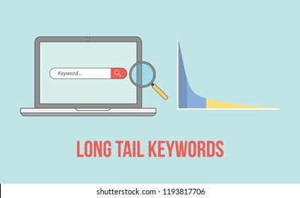 long tail keywords with laptop and graph chart illustration vector illustration
