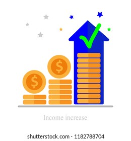Long term investing strategy, income growth, boost business revenue, investment return, fund raising, pension savings account, financial improvement report, high interest rate, vector icon