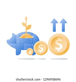 Long term investment strategy, metal piggy bank, ascending coins chart, arrow of growth, value increase, pension savings, superannuation concept, retire finance, financial security, more money