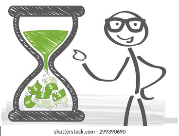 long term investments - vector illustration - Man in glasses beside hourglass filled with money - time is money