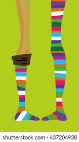 long thin teenage girl's legs in striped socks, stocking, vector hand-drawn picture, funny cartoon on bright background