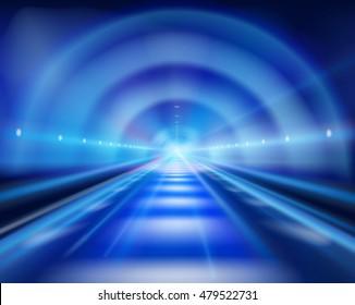 Long tunnel. Vector illustration.