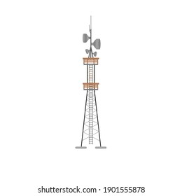 Long TV tower, which also distributes 5g internet and mobile communication with a convenient staircase for access to all sensors