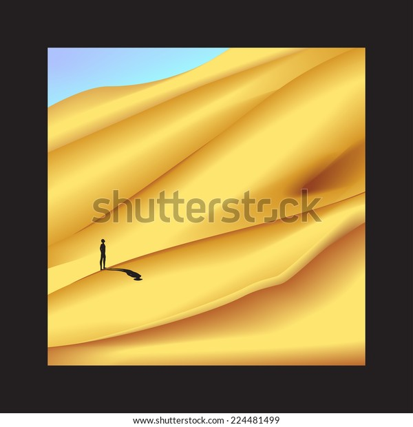 long way in Sahara desert in black frame, lonely man is standing on dune, wilderness in frame, recollection of Africa, long journey, vector