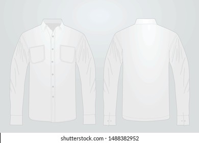 Long white sleeve shirt. vector illustration