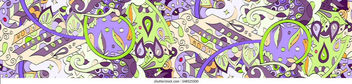 Long widescreen colorful seamless pattern. Curved doodling backgrounds for textile or printing with mehndi and ethnic motives. Vector.