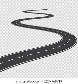 Long winding road. Transportation vector background