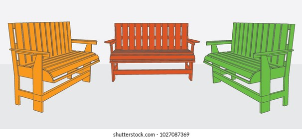Long Wooden chair isolated, Vector & Illustration. image 2