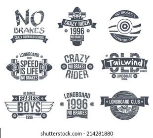 Longboard club emblems. Graphic design for t-shirt. Dark print on white background