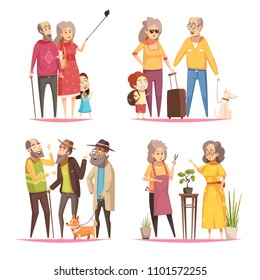 Longevity 2x2 design concept with elderly people leading an active lifestyle cartoon vector illustration