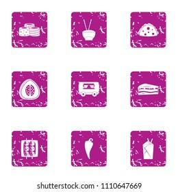 Longevity icons set. Grunge set of 9 longevity vector icons for web isolated on white background