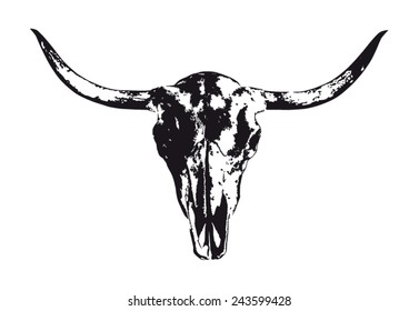 Longhorn cow skull in black and white
