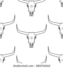 Longhorn skull seamless pattern white background. Bull skull head with horns pattern vector illustration. Texas animal symbol.