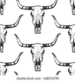 Longhorn skull, vector seamless pattern