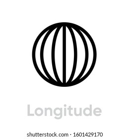 Longitude from pole to pole Meridians icon. Editable stroke