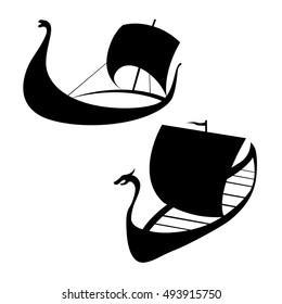 Longship. Viking ship icon. Isolated on white.