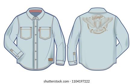 Long-sleeve light blue denim shirt with bold print on the back