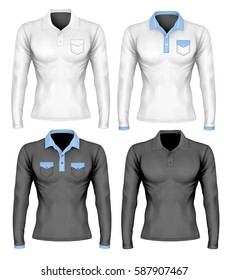 Long-sleeve polo shirts. Different polo collar variants. Vector illustration.