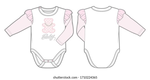 Long-sleeved bodysuit in soft ribbed jersey for a baby girl. Snap fasteners on one shoulder and at gusset. Front and back view.