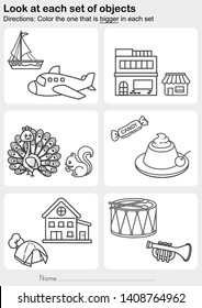 Look at each set of objects - Color the one that is bigger in each set - Worksheet for education.