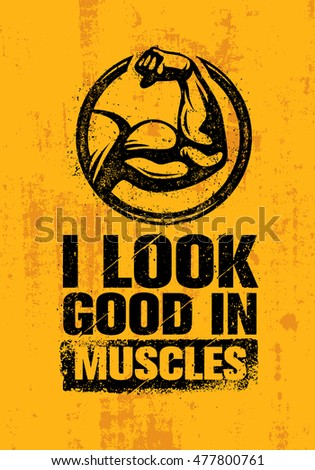 look good muscles workout fitness gym stock vector