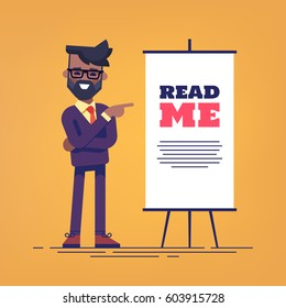 Look here! Happy handsome african american businessman in suit with beard pointing  to the flipchart  with the inscription read me. Flat vector illustration.
