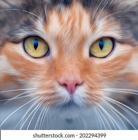 Look into your soul of an extremely beautiful cat female. Eye contact through the lens with widely open feline pupils with bright yellow iris. Unusual vector image in oil painting style.