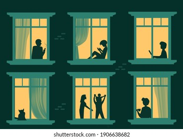 Look at the neighbors in the windows. Cartoon characters in the apartment are people sitting, working, playing with mobile phones and spending time together. Vector illustration house scene in the eve