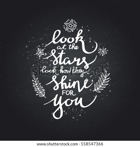 Look Stars Inspirational Quote Isolated On Stock Vector Royalty