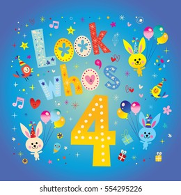 Look whos four - fourth birthday card with cute bunnies
