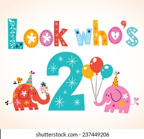 Look who's two - second birthday card