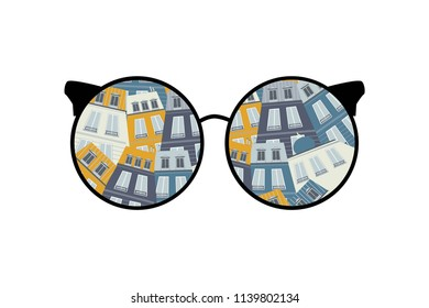 Look at the world through glasses.  houses - illustration