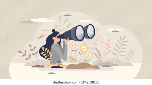 Looking ahead to future as strategy vision from female leader tiny person concept. Business opportunity searching from visionary woman vector illustration. Find professional objective or direction.