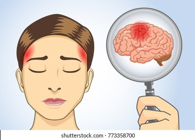 Looking brain of woman with magnifying glass her have headaches symptom.  Illustration about medical diagnosis.