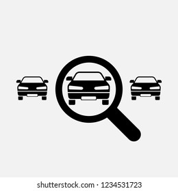 Looking for car icon. Search car symbol. Flat design. Stock - Vector illustration