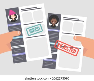 Looking for an employee. Comparing two CVs. Hands holding portfolios of two candidates. Racism at work. Competition. Flat editable vector illustration, clip art