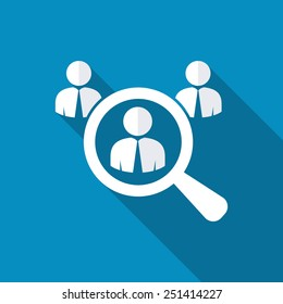 Looking For An Employee. Looking For Talent. Search for businessman. Flat icon design with long shadow. Business needs. People want. Looking at computer. Job search. HR looking for a employee