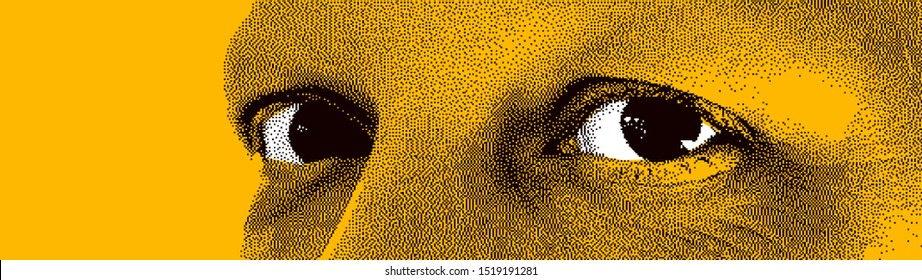 Looking eyes 8 bit dotted design style vector abstraction, human face stylized design element, black and yellow colors.