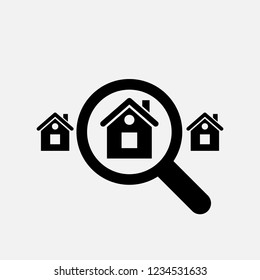 Looking for home icon. Search home symbol. Flat design. Stock - Vector illustration