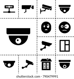 Looking icons. set of 13 editable filled looking icons such as security camera, security camera, window, surprised emot