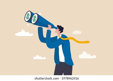 Looking for investment opportunity, money visionary, searching for yield, dividend or profit in stock market concept, wealthy businessman investor look through binoculars to see money dollar sign.