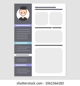 Looking for a job. CV template. Biography. Personal information. Skills and experience. Flat editable vector illustration, clip art
