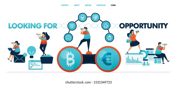 Looking for opportunity to get profit and money. business intelligence or bi for a smart company. report document with software. idea for opportunities in business. illustration for website & mobile