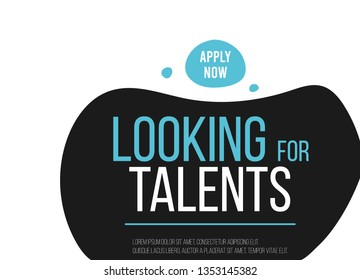 Looking for talents. Job vacancy card design. Open recruitment creative Ad